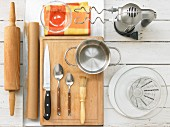 Kitchen utensils for baking cinnamon rolls with nuts