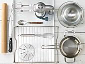 Kitchen utensils for making chocolate raspberry slices