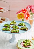 Zucchini crackers with avocado, micro greens and pine nuts