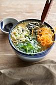 Vegan miso soup with sesame seeds (Japan)