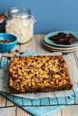 Homemade choc and nut bars on baking paper