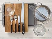Kitchen utensils for baking fig bread
