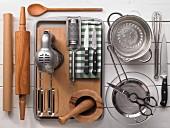 Kitchen utensils for making an apple pie
