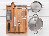 Kitchen utensils for a vegetable dish