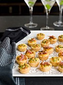 Crab and Filo Pastries and Crisp Pancetta and Pea Quiches