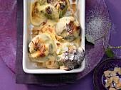 Gratinierte Feigen mit Quark-Eischnee und Mandeln