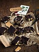 Homemade fudge with pistachio