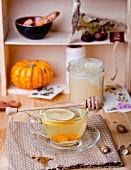 Turmeric tea with lemon and honey