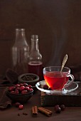 Hot cranberry tea with spices