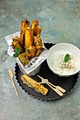 Baked courgette sticks with a yogurt dip
