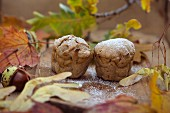 Vegan butternut squash muffins with autumn decoration