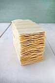 A stack of lasagne sheets