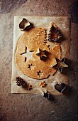 Cinnamon dough with Christmas cookie cutters