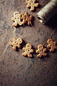 Gingerbread man cookies on a string