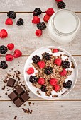 Granola and chocolate muesli with milk, raspberries and blackberries