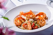 Risotto with prawns and cherry tomatoes