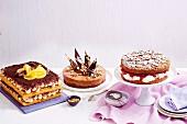 Tiramisu-Kuchen, Mousse au chocolat Kuchen mit Haselnuss und Erdbeer-Rhabarber-Streuselkuchen