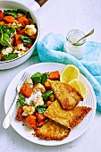 Veal Schnitzel with Spiced Vegetables