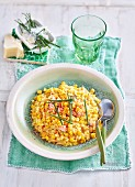 Turmeric Risotto with Fish and Corn Salsa