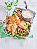 Lemon Chicken with Brussels Sprouts and Grape Salad