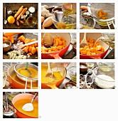 Möhren-Ingwer-Suppe mit Orangenöl zubereiten