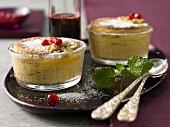 Passion fruit and pomegranate soufflés