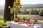 Bundt cake and sunflowers on table set for afternoon coffee with view of landscape
