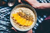 Porridge with orange slices