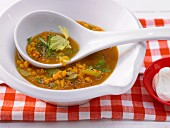 Lentil soup with curry and celery