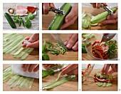 Gefüllte Gurkenröllchen mit Paprikaschote und Putenbrust zubereiten
