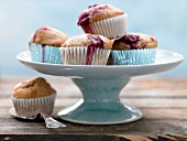 Walnut muffins with vanilla yoghurt and sour cherries