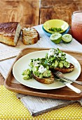 Smashed avo with feta on sourdough toast