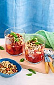 Peach parfait with blueberry and coconut yoghurt with nut crust