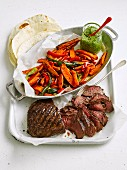 Seared Steak and Spiced Veg Chips with Pepita Pesto