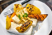 Grilled Halloumi and yellow peppers with chipotle vinegar