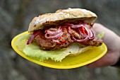 A steak sandwich with pickled red onion
