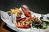 Grilled lobster with French fries