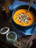 Vegan pumpkin soup with coconut milk and saffron