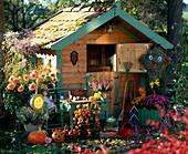 Kinderspielhaus im Herbstgarten