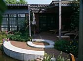 Terrasse aus Klinkerpflaster