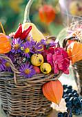 Körbchen mit Astern, Lampions, Hortensie und Zieräpfeln