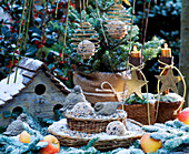 Vogelhaus aus Holz, Korbetagere mit Vogelfutter, Vögel aus