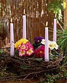 Eisengestell mit Kerzenhalter, Moos ausgekleidet, Birkenzweige
