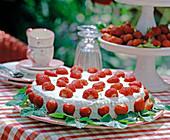 Erdbeertorte mit Erdbeeren verziert