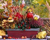 Herbstbalkon mit Kürbisfiguren: Cucurbita / Zierkürbis, Heuchera, 'Amber Waves'