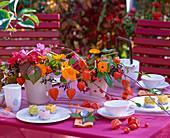 Tischdeko: Rosa / Rosen, Calendula / Ringelblumen, Physalis