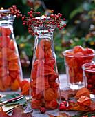 Physalis / Lampions, Rosa / Hagebutten, Acer / Ahornblätter, Gläser, Teelichter