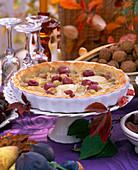 Vitis grape tart, Ficus figs, Juglans walnuts, autumn leaves