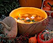 Cucurbita / großer Kürbis ausgehöhlt, Kerzen und kleine Kürbisse schwimmen, Rosa