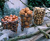 Drahtkörbe mit Haselnüssen, Walnüssen und Erdnüssen gefüllt